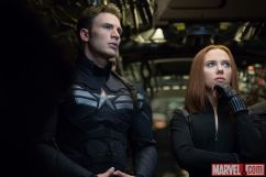 Chris Evans and Scarlett Johansson star as Captain America and Black Widow in Marvel's Captain America: The Winter Soldier