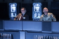 "Gary Oldman, left, and Jackie Earle Haley in Columbia Pictures' ""RoboCop,"" starring Joel Kinnaman."