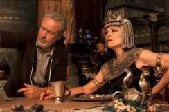 Ridley Scott confers on-set with Sigourney Weaver, who portrays Tuya.