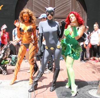 Adrianne Curry wears a Cat Woman costume while out and about at San Diego Comic Con 2014